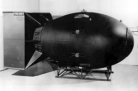 "The first nuclear weapons were gravity bombs, such as this ""Fat Man"" weapon dropped on Nagasaki, Japan. They were large and could only be delivered by heavy bomber aircraft Fat man.jpg"