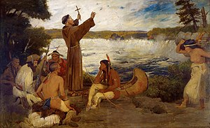 Louis Hennepin - Painting by Douglas Volk, of Father Louis Hennepin discovering Saint Anthony Falls.