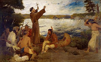 History of Minneapolis - A painting of Father Hennepin discovering Saint Anthony Falls.
