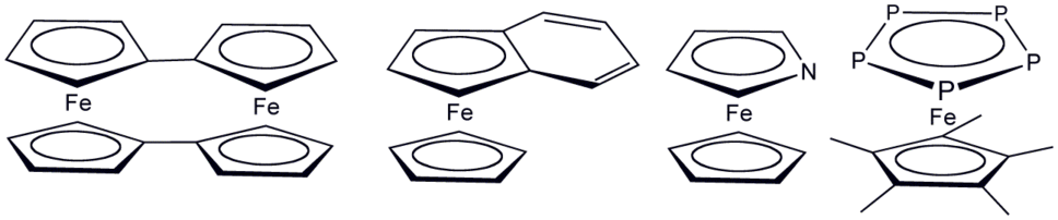 Various ferrocene derivatives where cyclopentadienyl has been replaced by related ligands