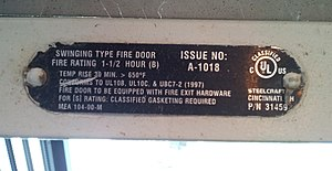 Fire door - Fire door rating label