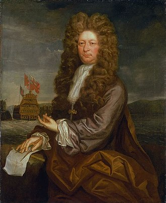 Jonathan Richardson - Fisher Harding Master Shipwright with the launch of the Royal Sovereign 1701