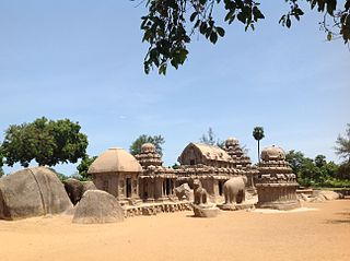 Pancha Rathas monument complex at Mahabalipuram, part of the UNESCO World Heritage site inscribed by UNESCO as Group of Monuments at Mahabalipuram