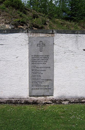 Dietrich Bonhoeffer - Flossenbürg concentration camp, Arrestblock-Hof: Memorial to members of German resistance executed on 9 April 1945