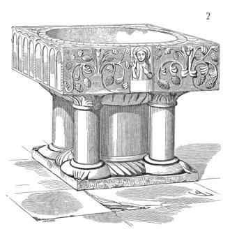 Montdidier, Somme - Baptismal fonts.