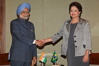Nehru jacket - Former Indian prime minister Manmohan Singh wearing a Nehru jacket which is the top half of a suit, meeting former Brazilian president Dilma Rousseff in Sanya, China, April, 2011
