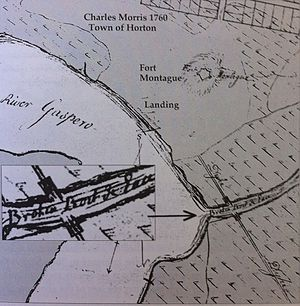 Fort Vieux Logis - Fort Montague, Charles Morris Map 1760