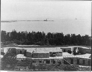 Cushing Island - View of Fort Levett and Ram's Island ledge, Cushing Island, Maine, ca. 1904