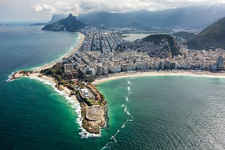 Fort Copacabana, with Ipanema (background) and Copacabana (right) Forte de Copacabana panorama.jpg