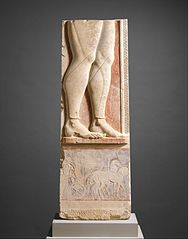 Fragment of the marble stele (grave marker) of a hoplite (foot soldier)