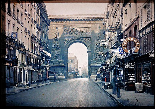 France Paris Porte Saint-Denis Rue du Faubourg 1914 autochrome