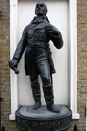 Fitzroy Square - Statue of Francisco de Miranda in Fitzroy Street, London.