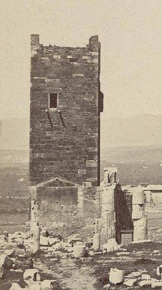 Frankish Tower (Acropolis of Athens) - Close-up view of the tower