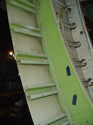 Fuselage - Sectioned fuselage showing frames, stringers and skin all made of aluminium