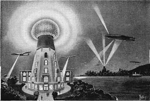 World Wireless System - 1925 artist's conception of what Tesla's wireless power transmission system might look like in the future, powering aircraft and lighting the city in the background.