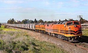 Bulldog nose - An ex Commonwealth Railways CL class leads a GM class locomotive in Australia.