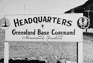 Northeast Air Command - Greenland Base Command HQ Sign, about 1943