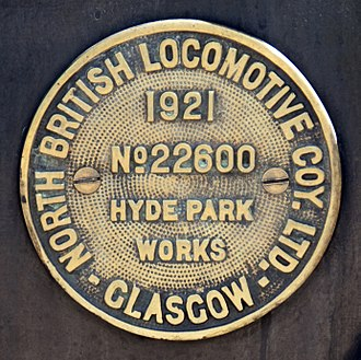 North British Locomotive Company - Image: GNR 1744 constructors plate