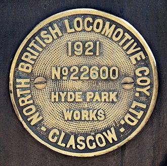 North British Locomotive Company - Image: GNR 1744 constructors plate