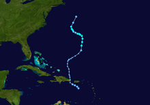 An image depicting the track of a weak and erratic tropical storm.