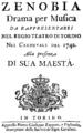 Gaetano Latilla - Zenobia - titlepage of the libretto - Turin 1742.png
