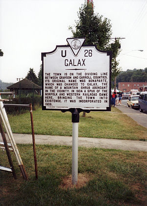 Galax, Virginia - Historical marker at Galax