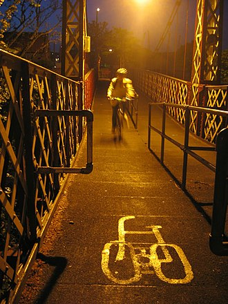 Southville, Bristol - Gaol Ferry Bridge is a busy commuter route for bikes and pedestrians