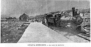 Mattawa, Ontario - Train at the Mattawa station, 1892.