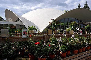 Zuchwil - Concrete shell roof (Isler shell) of the Wyss garden center in Zuchwil, built in 1962