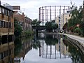 Gasholder reflections and Mare Street bridge - geograph.org.uk - 1541651.jpg