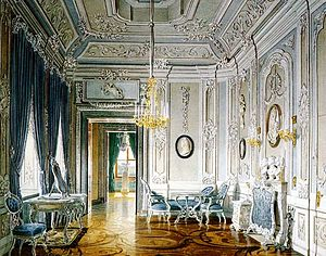 Gatchina Palace - Gatchina Palace. Dressing-Room for Count Orlov, 1770s, seen in a 19th-century watercolor: much of the interior was burned by Nazis. Painting by Eduard Hau