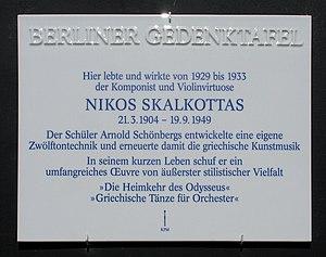 Nikos Skalkottas - Commemorative plate in Berlin