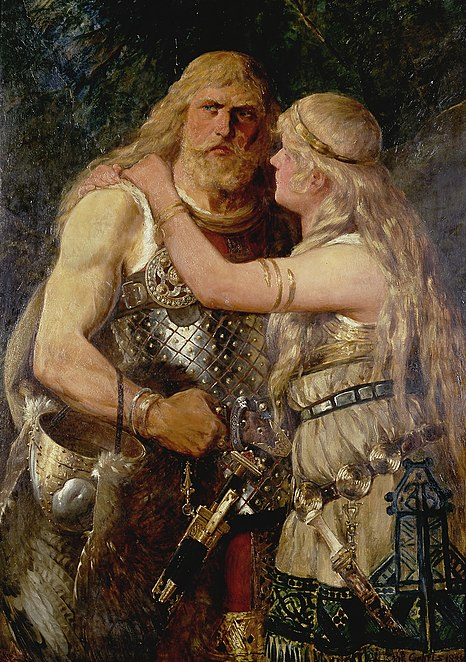 The ancient Germanic married couple Arminius and Thusnelda engaged in a romantic encounter. Created in 1884 by Johannes Gehrts, the art piece depicts Arminius saying farewell to his beloved wife before he goes off into battle. Gehrts Armin verabschiedet sich von Thusnelda 1884.jpg