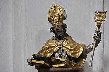 Statue of Saint Ulrich in the parish of St Emmeram in Geisenfeld