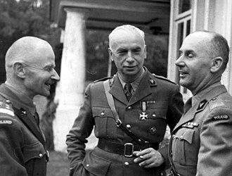 Stanisław Kopański - Kopański (right) with Marian Kukiel (left) and Kazimierz Sosnkowski (centre), in London, 1944.