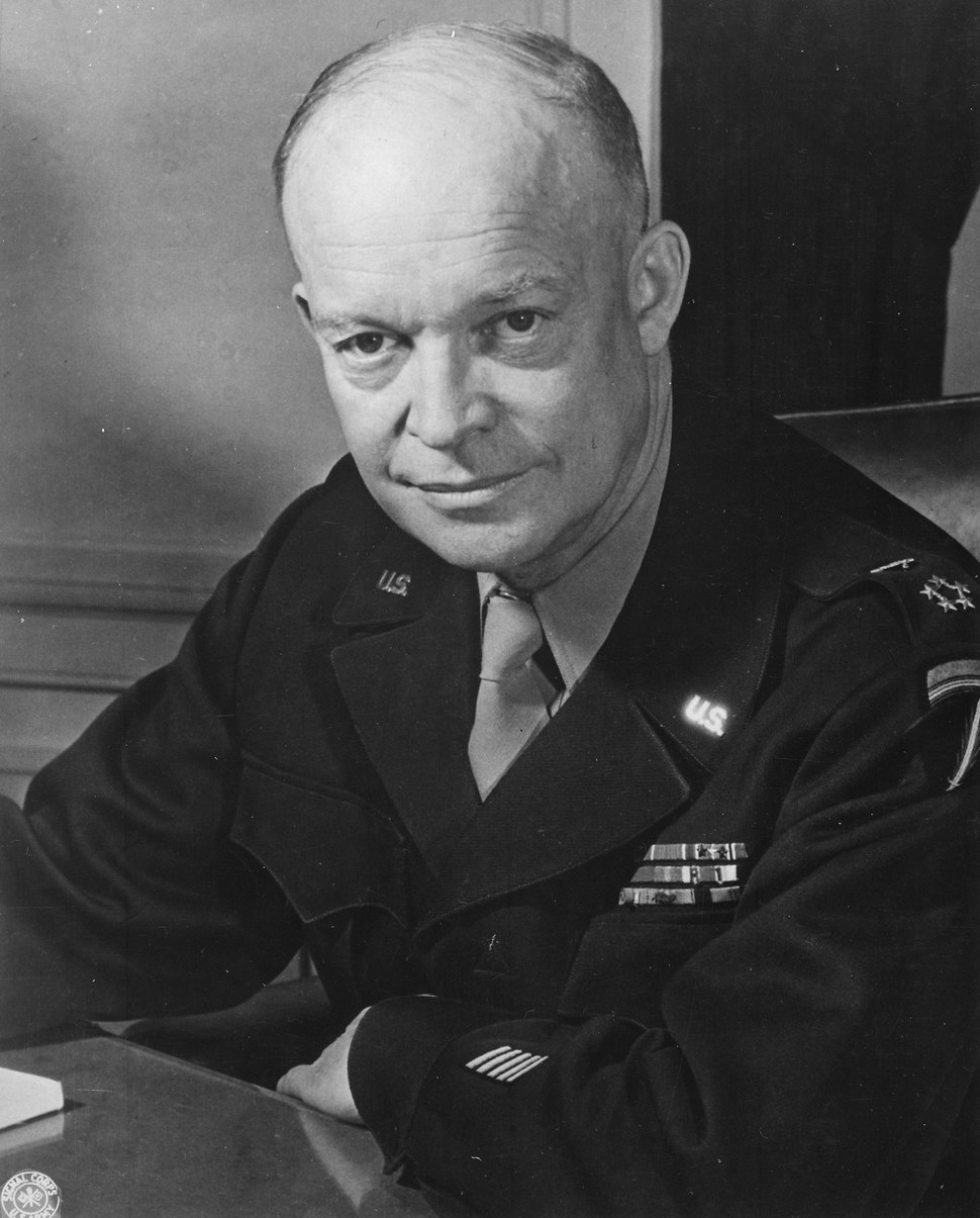 General Dwight D. Eisenhower, Supreme Allied Commander, at his headquarters in the European theater of operations. He... - NARA - 520686