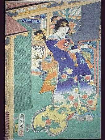 Toyohara Kunichika Japanese Art Print Kogiku in Saruwaka-Cho