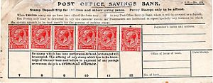 Savings stamp - A British savings slip with space for twelve one penny stamps.