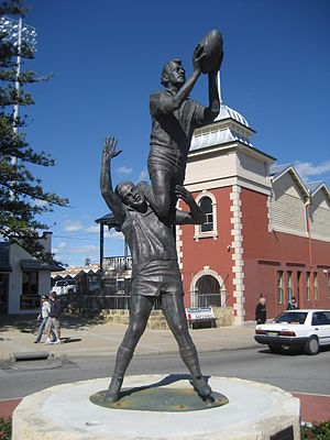 John Gerovich - Statue of John Gerovich's famous mark  over Ray French in the 1956 WAFL preliminary final