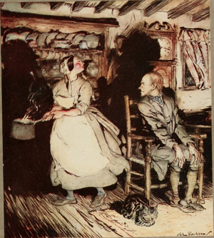 Get Up and Bar the Door - Illustration by Arthur Rackham of  Get Up and Bar the Door