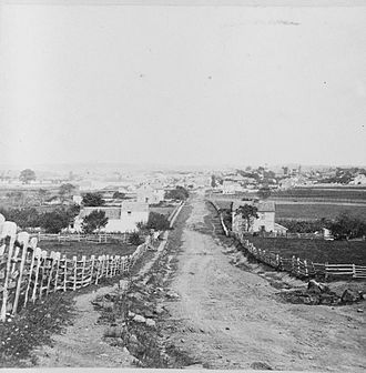Battle of Gettysburg, First Day - Gettysburg in 1863, north of town, viewed from the area of the Lutheran Theological Seminary