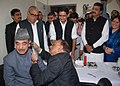 Ghulam Nabi Azad being examined by ENT Specialist at the Outreach OPD of AIIMS, New Delhi, at Badsha, Jhajjar, in Haryana on November 24, 2012. The Chief Minister of Haryana, Shri Bhupinder Singh Hooda is also seen.jpg