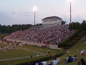 The home side of Gibbs Stadium.