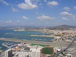 Gibraltar Airport, Bay of Gibraltar and La Línea from the Rock.jpg