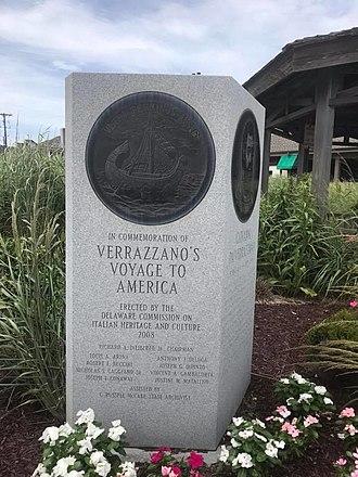Giovanni da Verrazzano - South face of Verrazzano's monument in Rehoboth Beach, Delaware