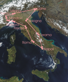Overview of the stages: route clockwise from Milan, down to Naples, then up to Milan