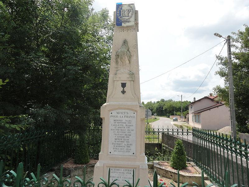 Le monument aux morts de la Première Guerre mondiale de Glannes (Marne).
