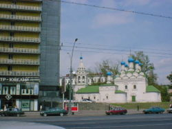 A church on New Arbat in Moscow, in which the great writer was mourned before his burial.