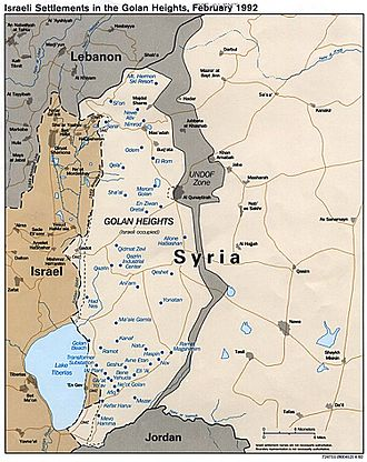 Israeli settlement - Map of the Golan Heights with Israeli settlements in 1992.