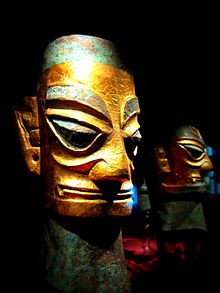 Sanxingdui bronze heads with gold foil